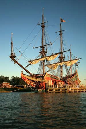 Batavia � historic galleon from Netherlands by sunset. Old ship. Lelystad, Flevoland. photo