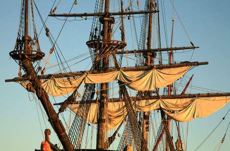 Details of sail � Batavia � historic galleon by sunset. Old ship. Flevoland, Netherlands.