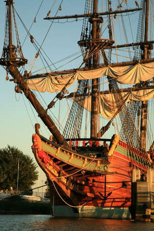 bowsprit: Batavia � historic galleon from Netherlands by sunset. Old ship. Lelystad, Flevoland.