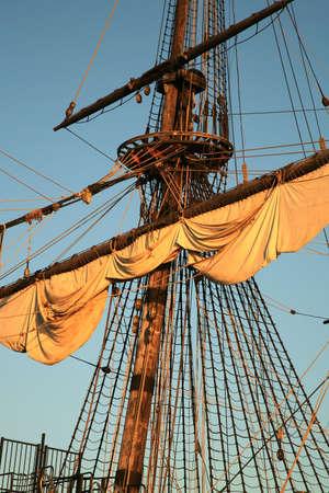 Details of sail – Batavia – historic galleon by sunset. Old ship. Flevoland, Netherlands.