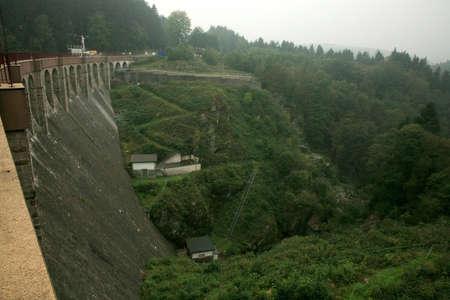 hydroelectricity: Dam in near Robertville village – gloomy day in Ardennes Mountain – Belgium.
