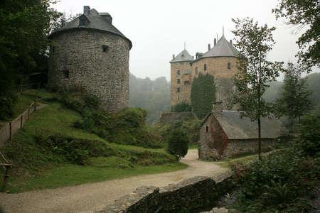 to observer: Castle Reinhardstein near Robertville village in Belgium. Belgian Ardennes region.