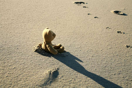 bear footprints: Lonely teddy bear lost on the beach. Left childrens toy.