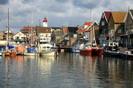 Boats in port - Urk, the Netherlands. Picturesque, small town in Flevoland.