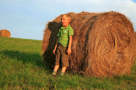 Little  boy wrestling on the meadow. Play on hay. Summer country � Pasterka, Poland Stock Photo - 3942157