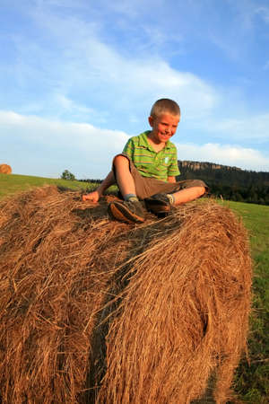 frolicking: Little  boy on the meadow. Play on hay. Summer country � Pasterka, Poland