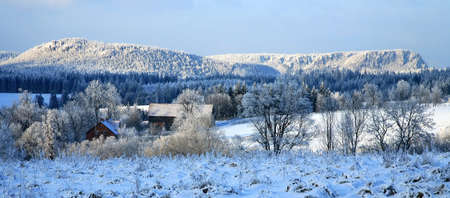 sudetes: Winter in small village in Poland � Pasterka � Table Mountains � landscape.