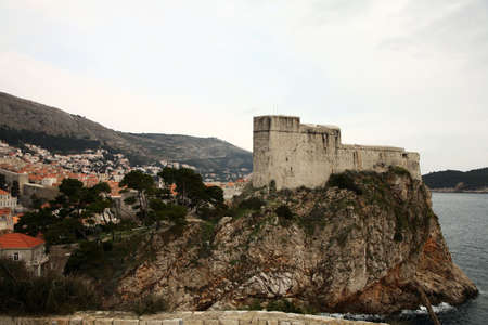 Cloudy day in Croatia � Dubrovnik after season. Famous city fortress on the Adriatic.  photo