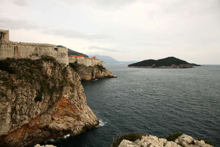 croatia dubrovnik: Cloudy day in Croatia � Dubrovnik after season. Famous city fortress on the Adriatic.