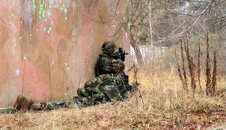 infantryman: Soldiers game on military training ground ( batlle camp ). Action