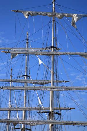 Details of modern sail by sunrise.  Modern ship � masts. Sailing. Stock Photo - 4179083