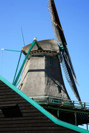 Famous picturesque Zaanse Schans in Netherlands. Group of historic old windmills . Stock Photo - 4550838