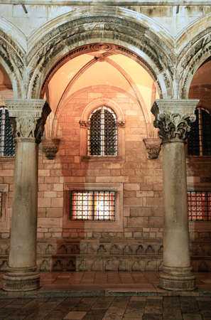 central chamber: Detail of Rector Palace by night, Dubrovnik, Croatia