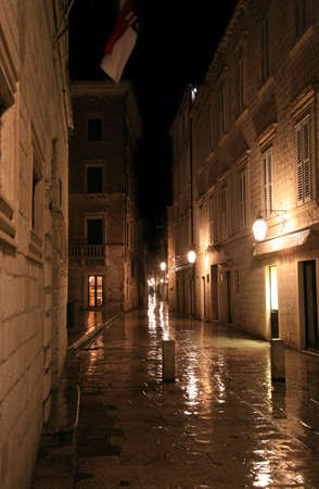 central chamber: Narrow street in Dubrovnik by night, Croatia