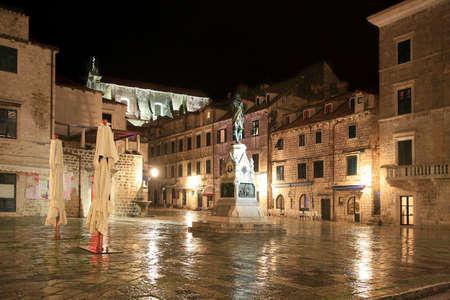 Square in Dubrovnik by rainy night, Croatia