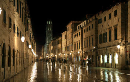 Main street in Old Town in Dubrovnik by rainy night, Croatia