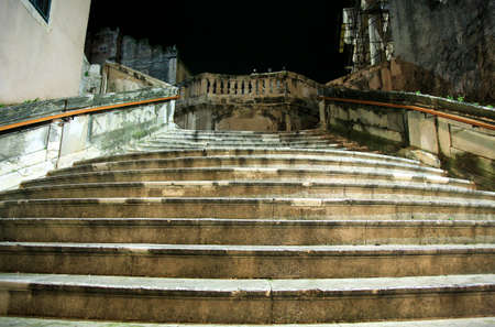 central chamber: Big Stairs in Dubrovnik by rainy night, Croatia.