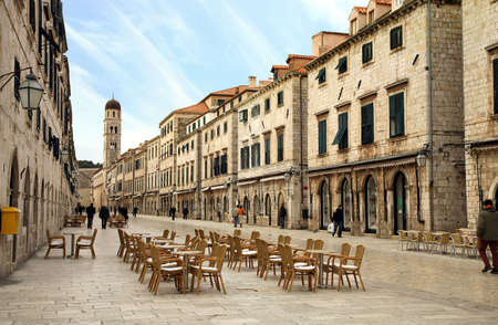 Strada of Dubrovnik. The Strada is the main shopping street and gathering area in the city of Dubrovnik in Croatia.  Main street by early morning. Stock Photo