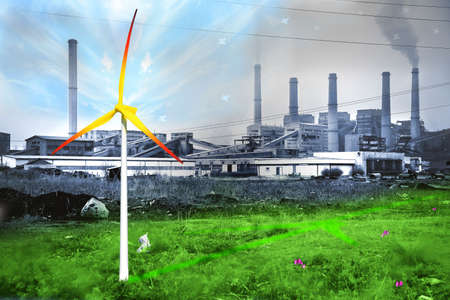 Renewable energy sources save the environment. Threat of civilization, the regeneration of nature. Idea, concept. Environmental protection.