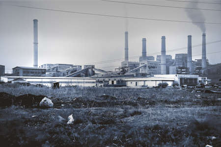 Environmental destruction. The progress of civilization, human activity. Heavy industry and environment. photo