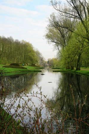 Public garden in Warsaw by spring. Poland.  Rabbit House ( Krolikarnia Palace ) park. photo