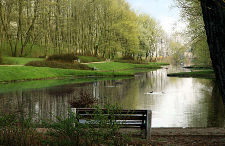 Public garden in Warsaw by spring. Poland.  Rabbit House ( Krolikarnia Palace ) park.