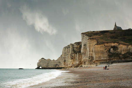 Famous cliffs in Etretat which Impressionists painted, including Monet. Small tourist town in Normandie, France