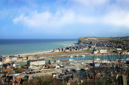 manche: Summer resort in Normandy above La Manche Canal with beautiful cliffs � Le Treport, France