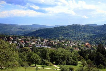 View on Baden-Baden and Schwarzwald's range in Germany. 版權商用圖片