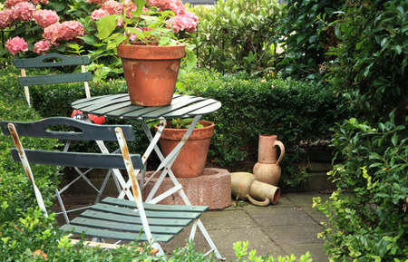 Picturesque small garden in backstreet in Netherlands with hydrangea , jugs, table and chairs and hedge. Stock Photo