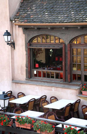 alsace: Cozy restaurant on Ponts Couverts in Strasbourg � Petite-France, Alsace, France. Stock Photo
