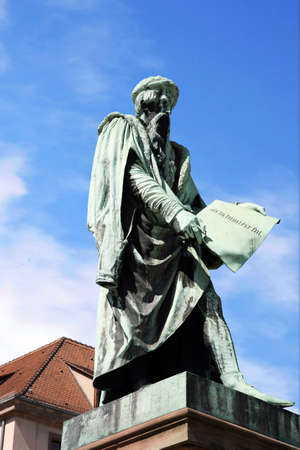 supposedly: Statue of Gutenberg in Strasbourg -  (supposedly) invented the press. Alsace, France Stock Photo