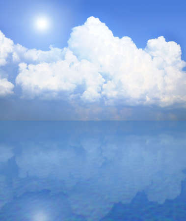 Blue sky and white clouds with sun. Shadow in water. Background.