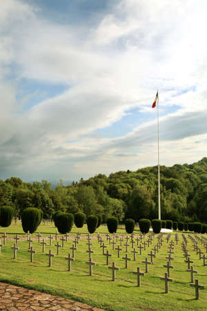 Military graveyard of heroes of the First World War - France, Alsace, Vosges. Rows of tombstones. photo