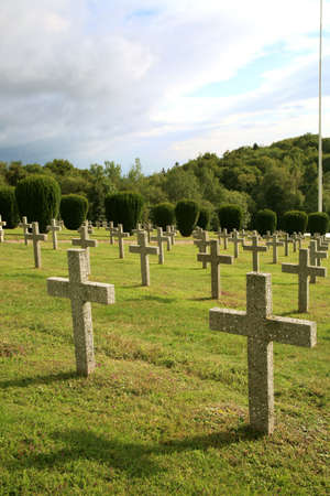 national military cemetery: Military graveyard of heroes of the First World War - France, Alsace, Vosges. Rows of tombstones.