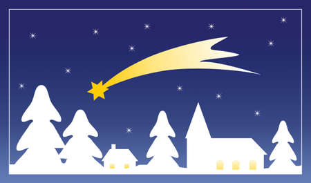 Small village outline in winter with falling snow and Star of Bethlehem on the night sky. Christmas illustration.