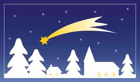 Kleines Dorf skizzieren, die im Winter mit Schnee und Stern von Bethlehem in der Nacht Himmel. Weihnachten Abbildung.