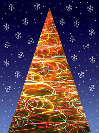 Paper cutting  - Christmas tree with blurred light lamp and snowflakes on dark blue background.  photo