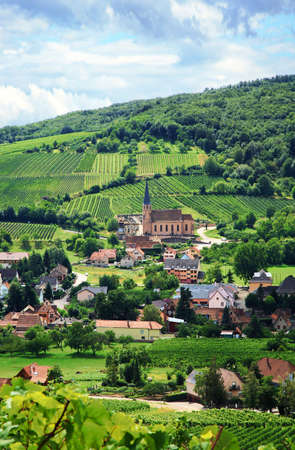 alsace: Route des vines in Alsace - France, village in Vosges Mountains. Vineyard. French country.