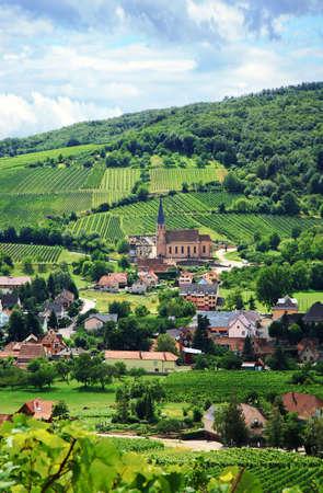 Ruta vides des en Alsacia - Francia, aldea en las montañas de los Vosgos. Viña. País francés. Foto de archivo - 5304573