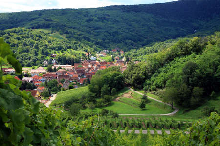 Route des vines in Alsace - France, village in Vosges Mountains. Vineyard. French country.
