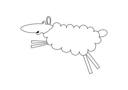 Ram, lamb, sheep – outline. Cute farm animal vector illustration. illustration