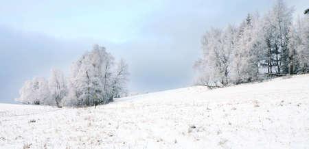 Winter Landschaft in der Nähe von kleinen, malerischen Pasterka Dorf in Polen. Berühmte touristische Attraktion ? Tafelberg.  Standard-Bild
