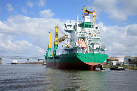 ship with cargo on the Kiel Canal, Germany