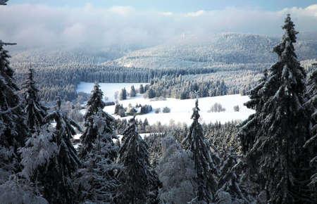Winter Table Mountain range-  landscape near small, picturesque Pasterka village in Poland. Famous tourist attraction. photo