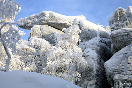 sudetes: Table Mountain  in Poland - one of the oldest mountains in Europe. Formations caused by karst phenomena
