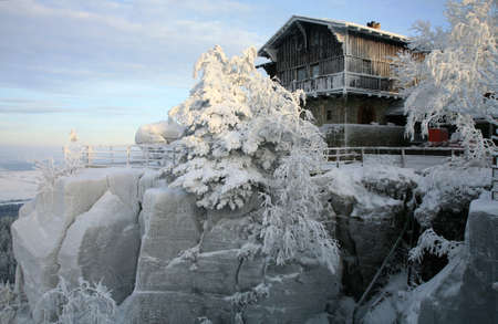 sudetes: The mountain hut on the top of the Great Szczeliniec - Table Mountains - Poland
