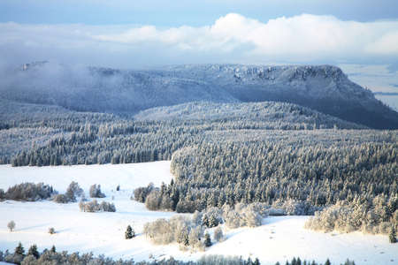 Winter Table Mountain range-  landscape near small, picturesque Pasterka village in Poland. Famous tourist attraction. Stock Photo - 8563991