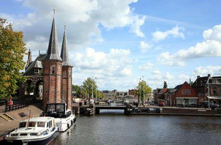 Historic old town in the Netherlands - Sneek. Friesland province. Watergate 版權商用圖片
