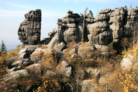 phenomenon of nature – stolowe ( table ) mountains – rock formations in national park – poland near pasterka village. 版權商用圖片